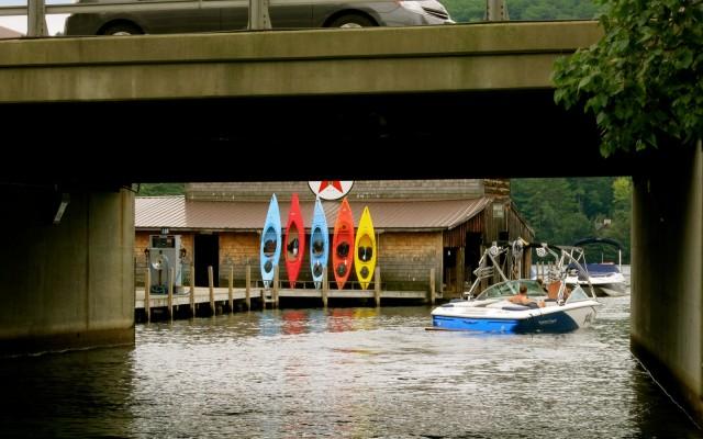 Under bridge, Squam Lake Tour