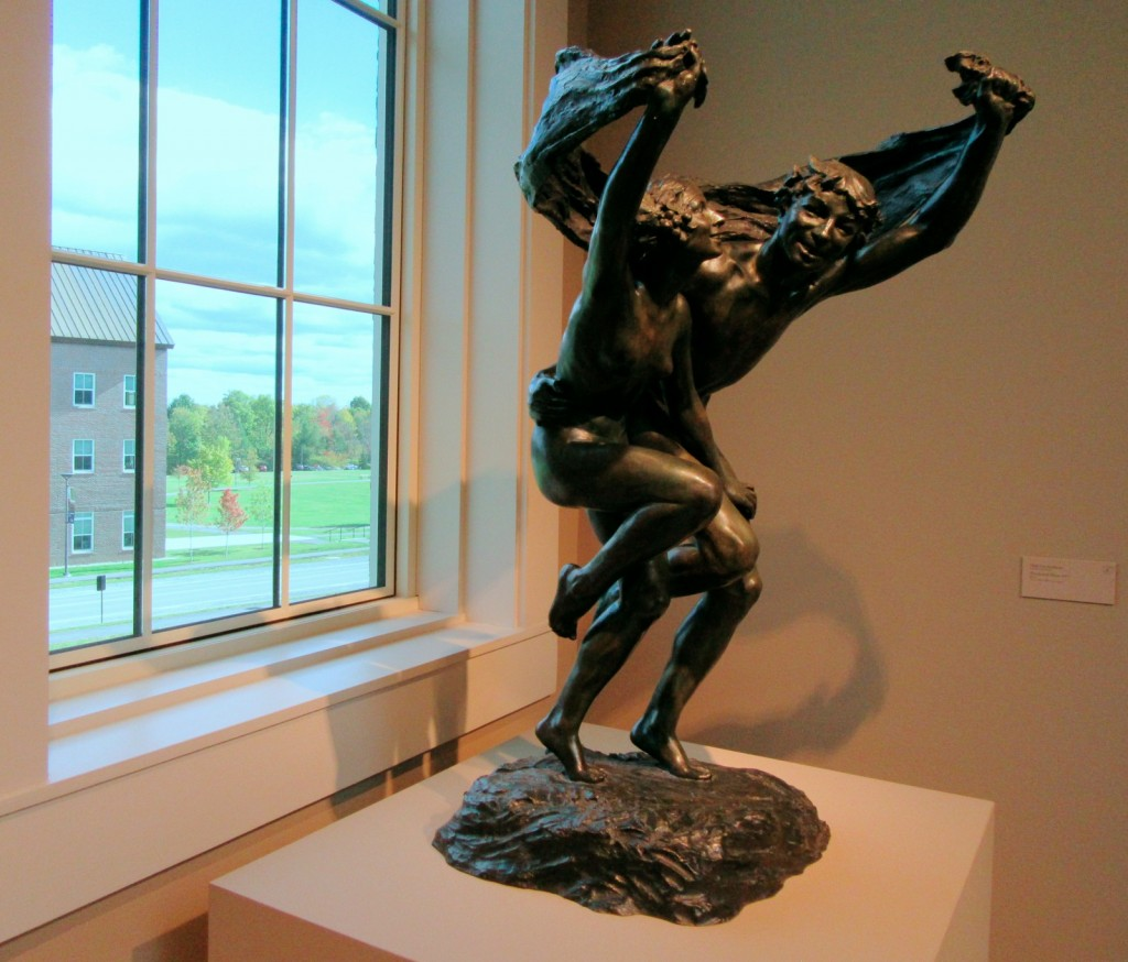 Bronze, foliage outside, Colby College Art Museum, Waterville ME