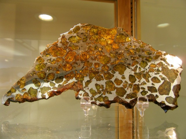 Slice of iron Imilac Meteorite, Maine Mineral and Gem Museum, Bethel ME
