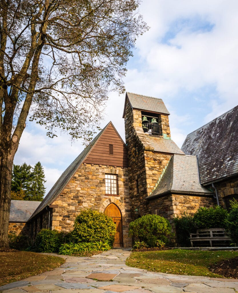 Exterior of Union Church of Pocantico HIlls in Sleepy Hollow NY