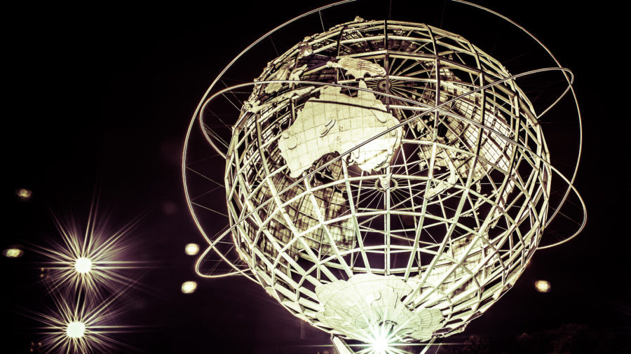 The Unisphere, aka World's Fair Globe, at night in Queens, New York City.