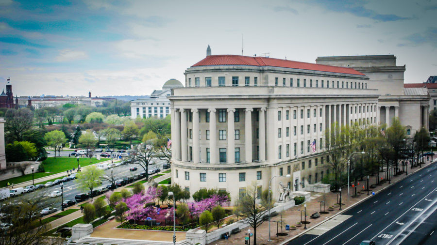 View of the Federal Trade Commission on Pennsylvania Avenue in Washington DC as seen from the Newseum Terrace.