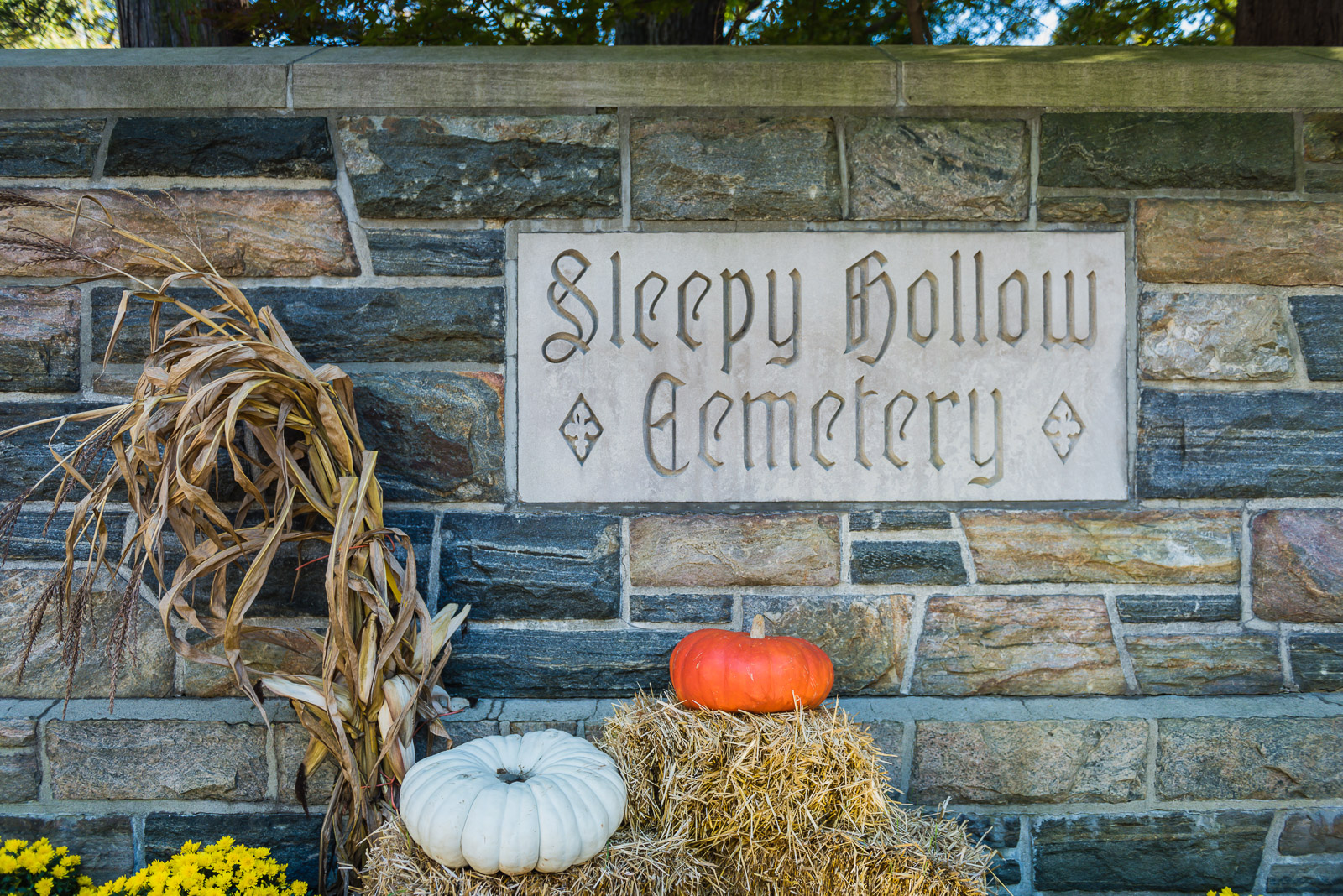 Sleepy Hollow Cemetery Entrance Sign