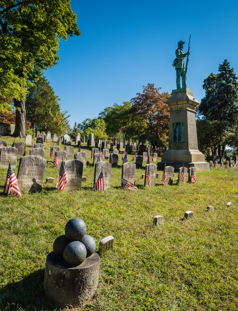 Cannon balls and flags at Civil War Monument - Sleepy Hollow Cemetery - Sleepy Hollow NY