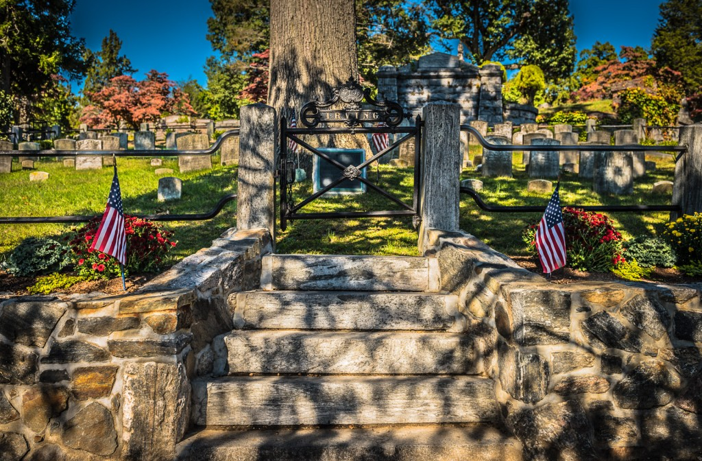 Entrance to Washington Irving gravesite at Sleepy Hollow Cemetery in Sleepy Hollow NY