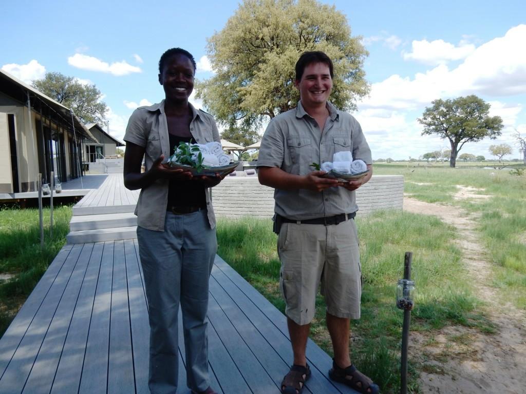 Cool towel welcome, Linkwasha Camp, Zimbabwe