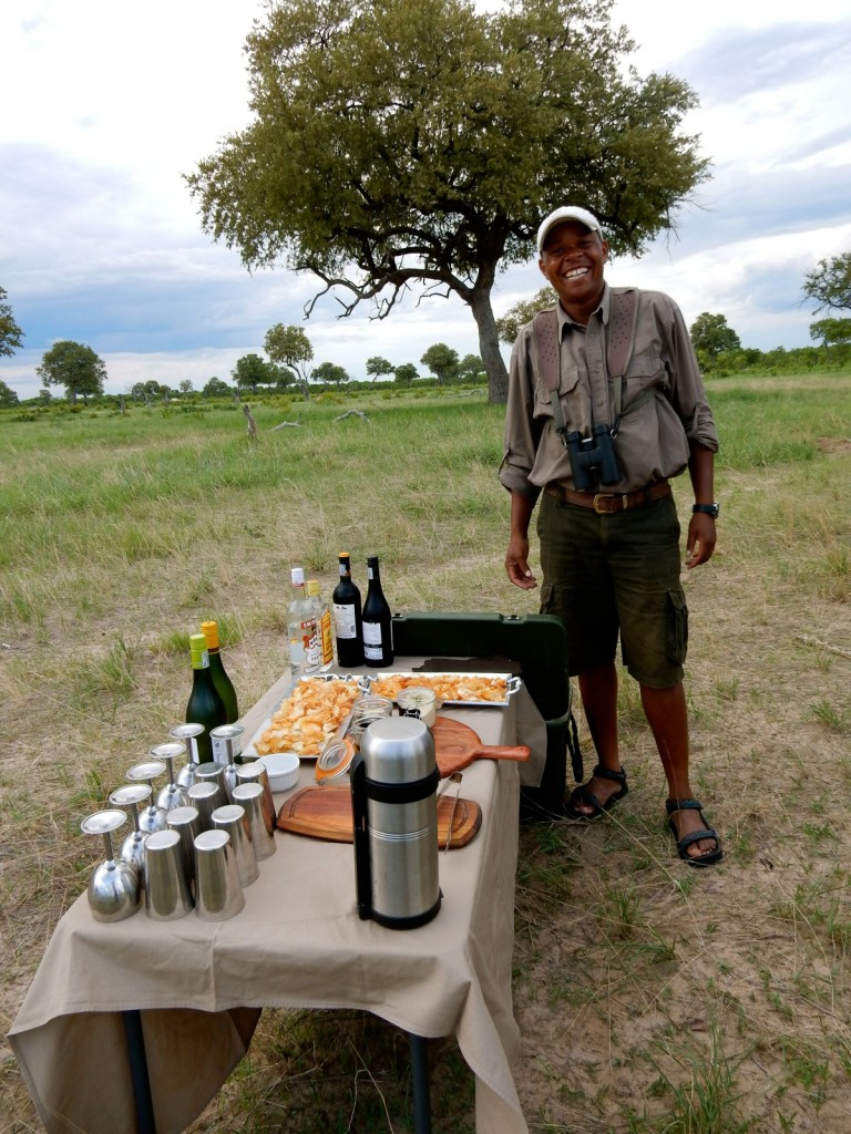 Guide Sam at Sundowner, Linkwasha Camp, Zimbabwe