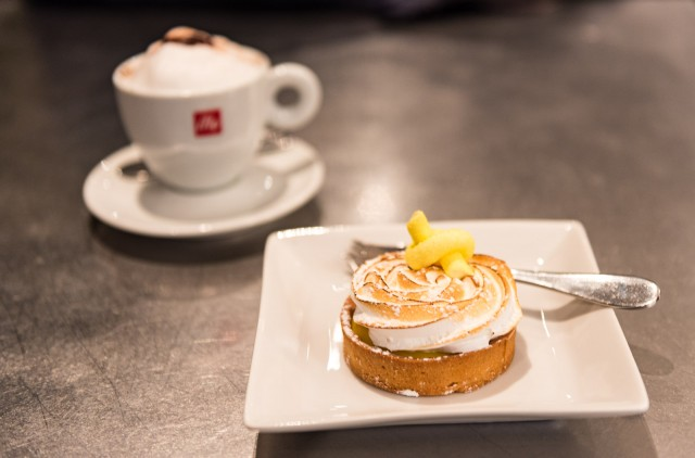Lemon Meringue Tart and a cappuccino at Maison Christian Faure in Old Montreal, Quebec