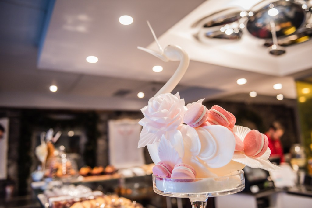 White Macaron Swan filled with pink macarons - Maison Christian Faure - Old Montreal, Quebec
