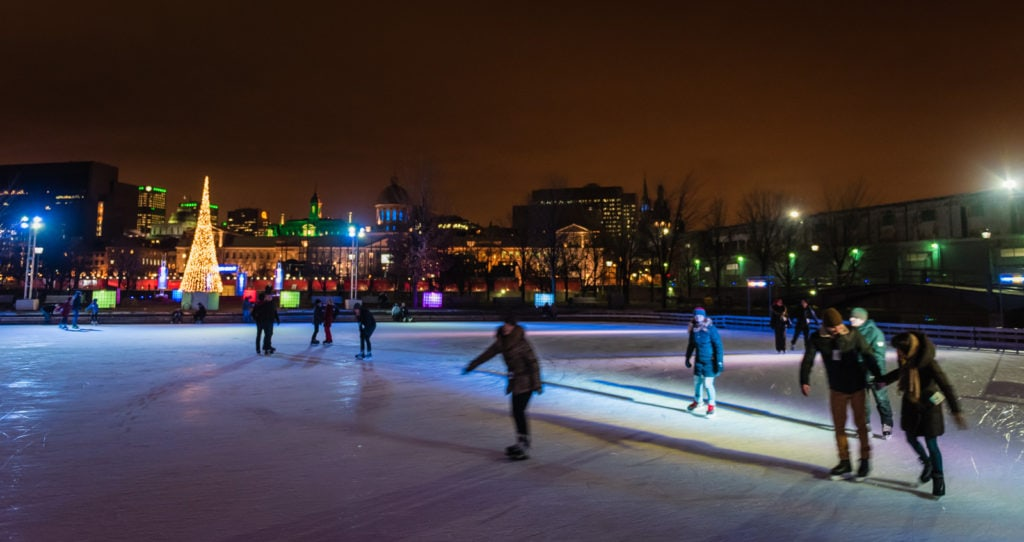Public session ice skating in Old Montreal.