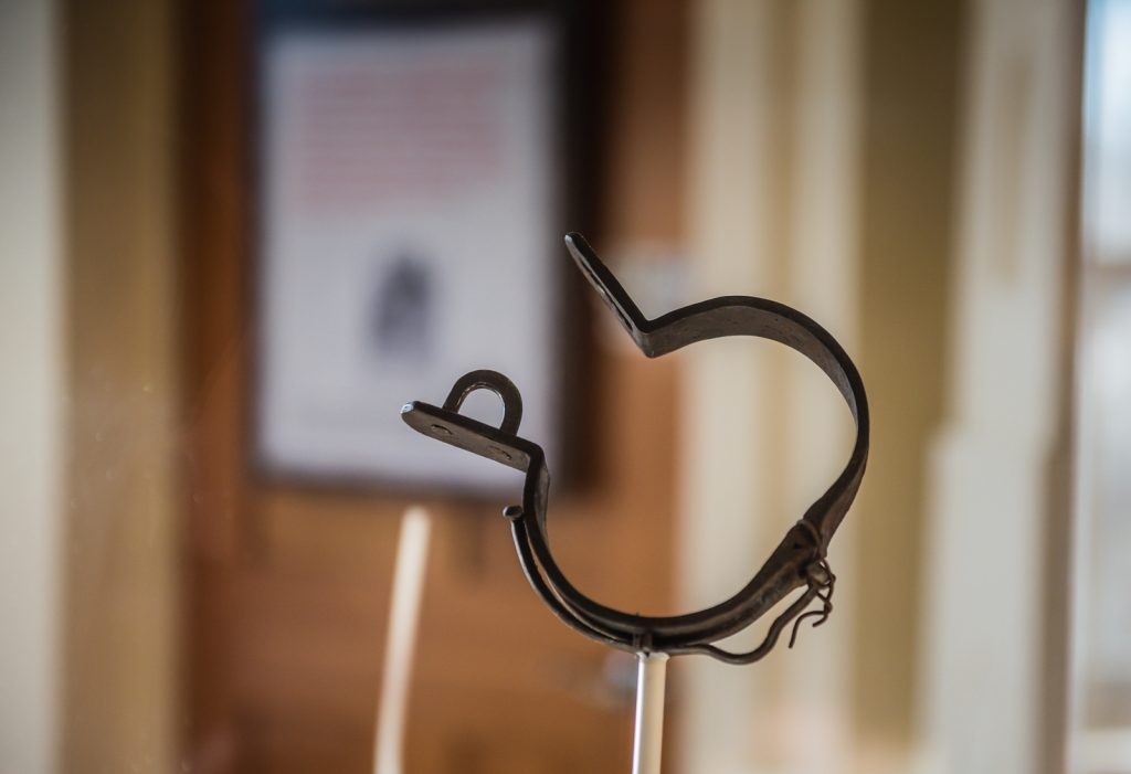 Black History In New York exhibit displays Slave Shackle - North Star Underground Railroad Museum - Ausable Chasm, NY