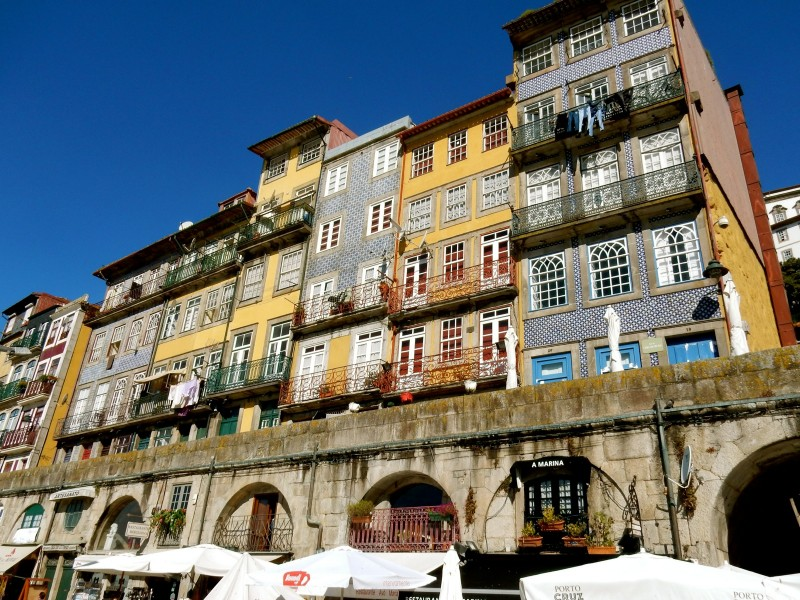 Colorful apartments along Douro Riverfront, Porto Portugal