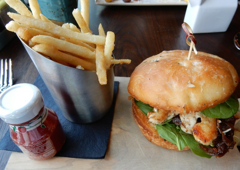 Grilled Chicken, Homemade Bun, Outlook Kitchen and Bar, Envoy Hotel Boston MA