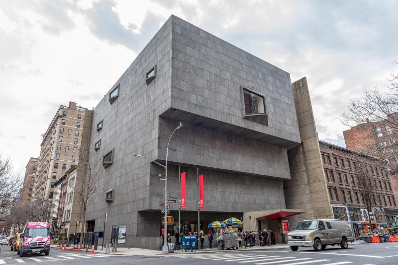 The Met Breuer museum building exterior on the corner of 75th and Madison Avenue in New York City.