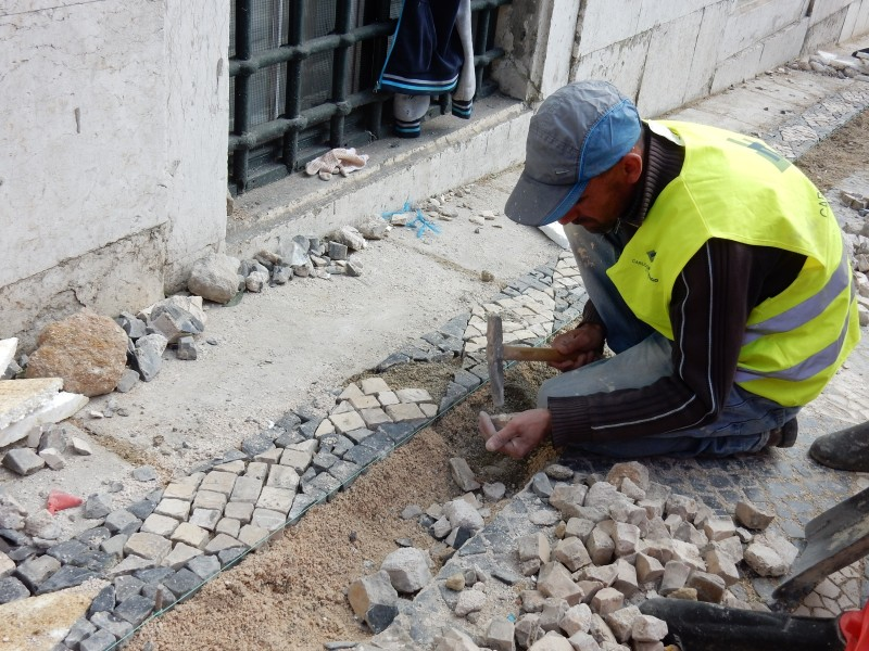 Mosaic Street workers, Lisbon Portugal