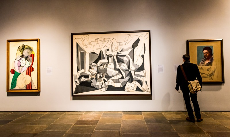 Wall of Picasso paintings on exhibit at The Met Breuer. @GetawayMavens