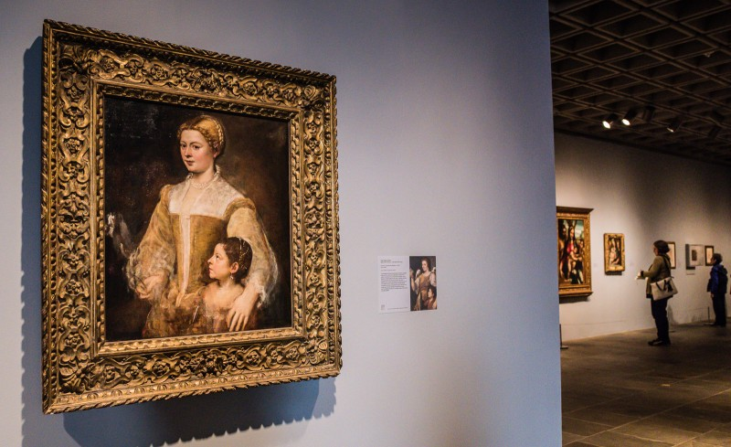 Museum display of Portrait of a Lady and Her Daughter by Titian on exhibit at The Met Breuer. @GetawayMavens