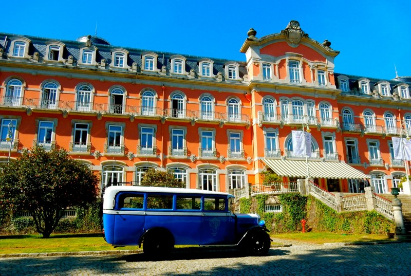 Vidago Palace Hotel with bus, Portugal