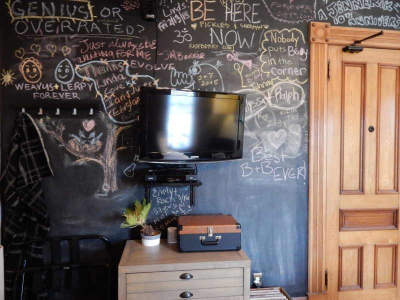 Blackboard walls in Guestrooms, Made Inn Vermont, Burlington VT