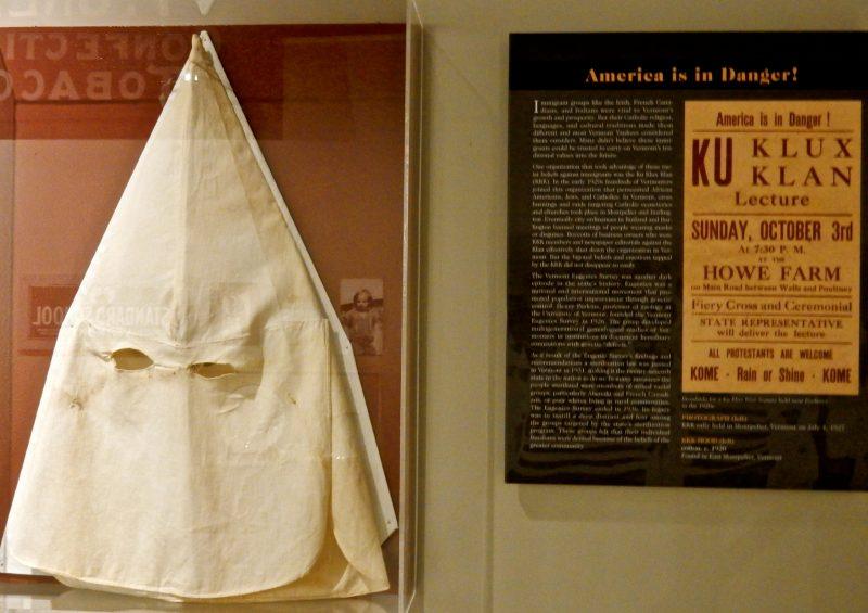 KKK Exhibit, Vermont History Museum, Montpelier VT