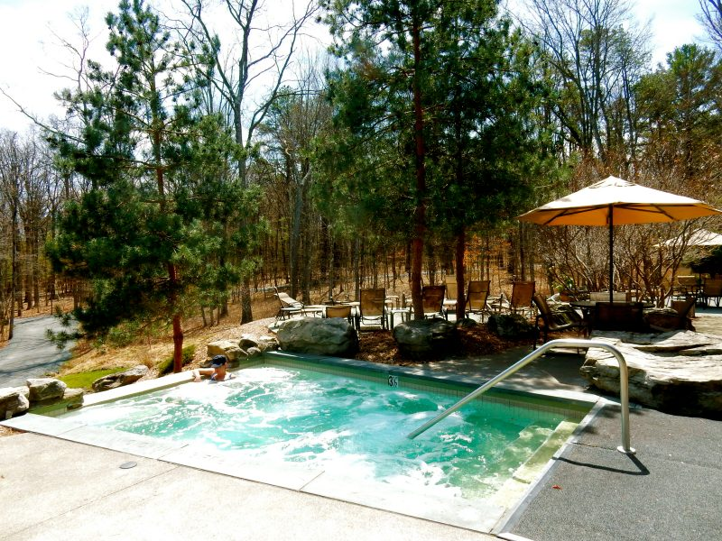 Outdoor Hot Tub Lodge at Woodloch PA #VisitPA @GetawayMavens