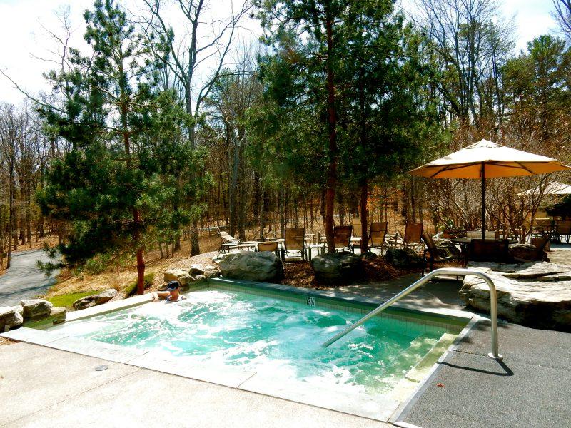 Outdoor Hot Tub Lodge at Woodloch PA #VisitPA @GetawayMavens