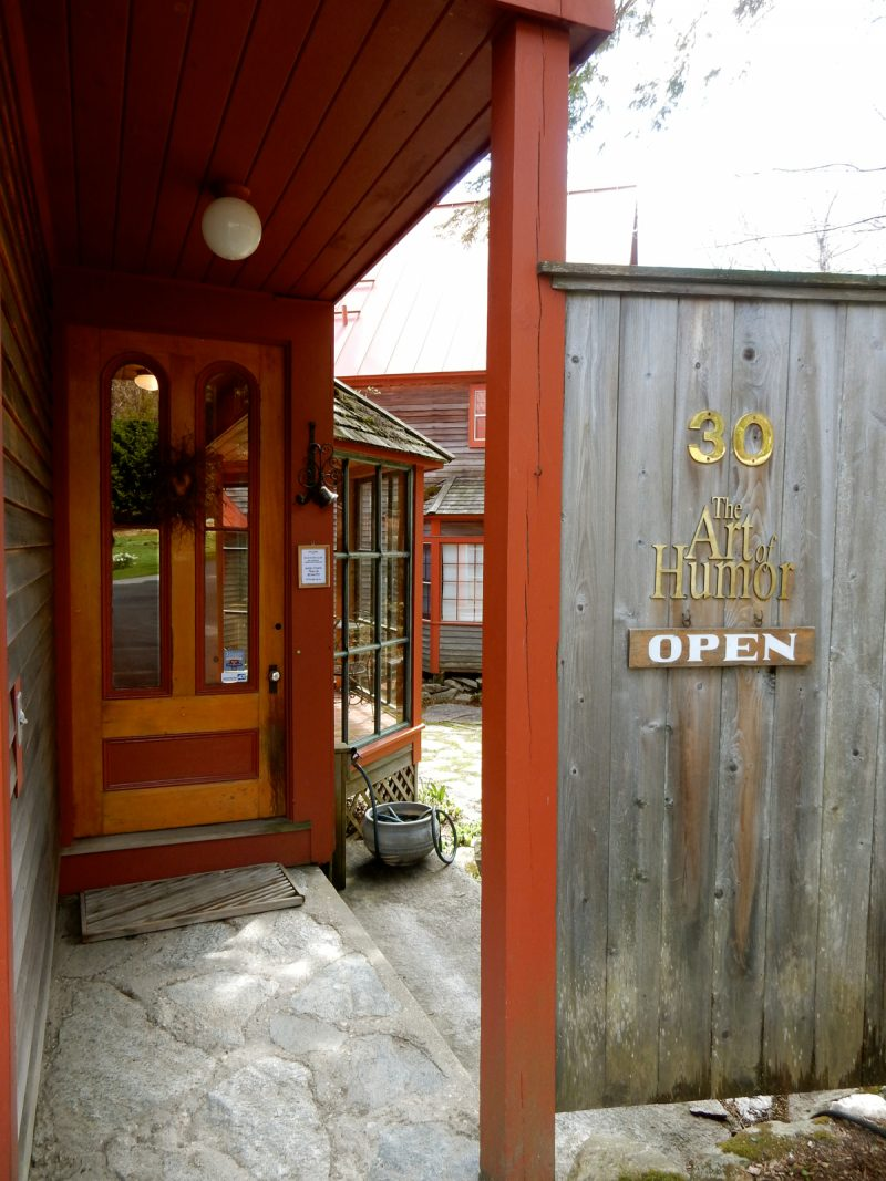 The Art of Humor Gallery entrance, Wilmington VT
