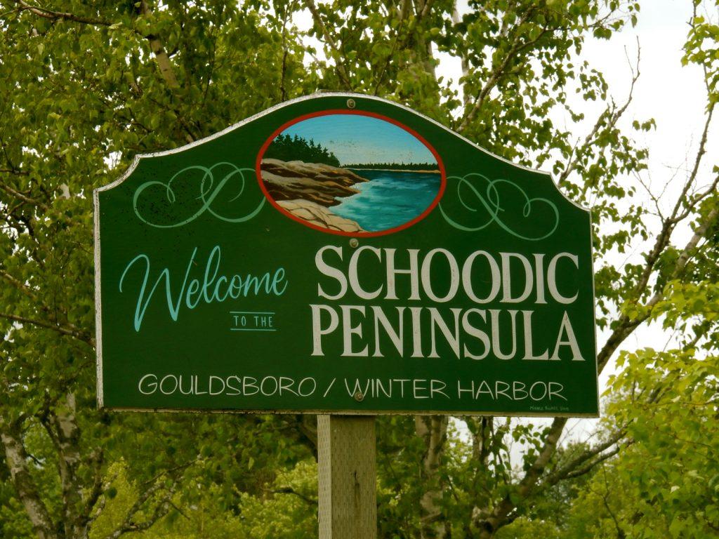 Welcome to Schoodic Peninsula sign