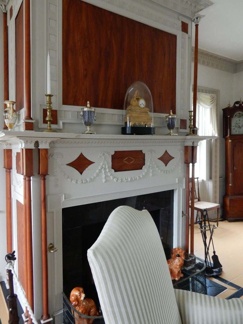 Inlaid wood fireplace, Ruggles House, ME