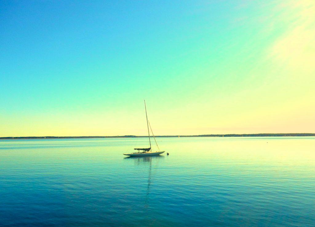 Sailboat off the North Fork of Long Island NY