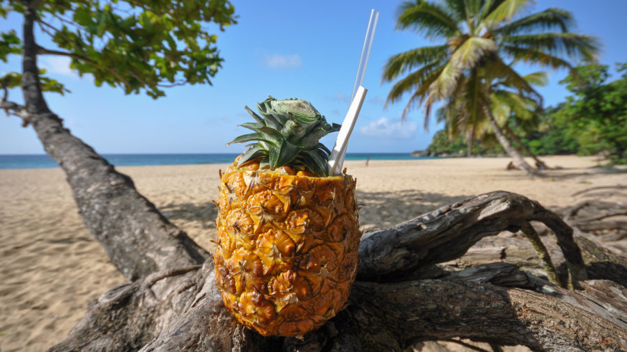 Pina Colada on Playa Grande Beach in Cabrera, Dominican Republic.