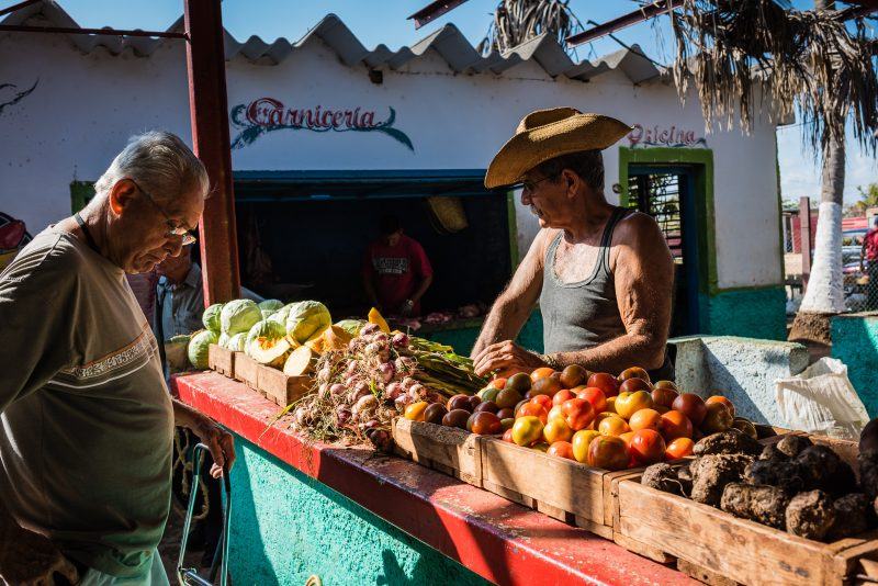 Produce stand at morning market in Varadero Cuba.