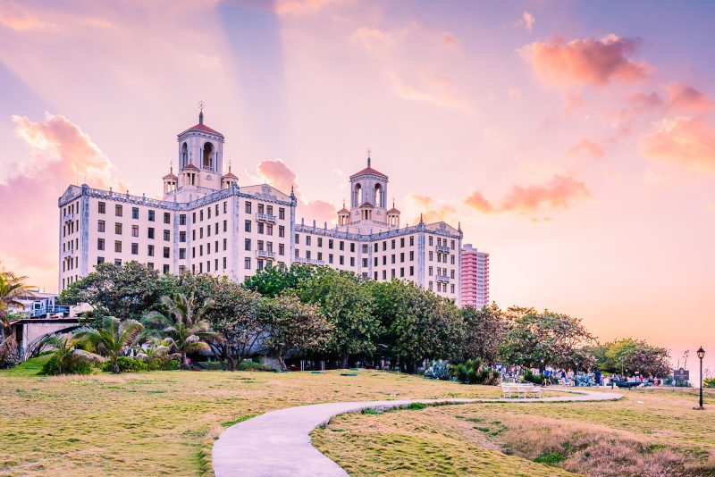 Sunset over Hotel Nacional de Cuba in Havana.