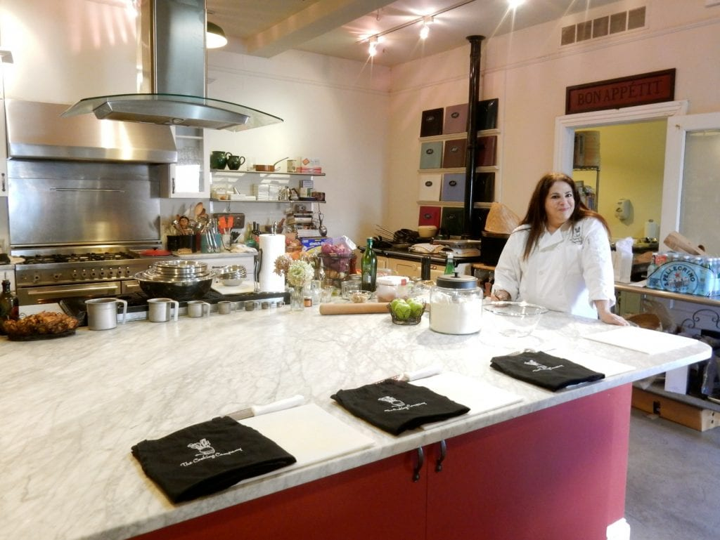 Chef Kathy Gold in the kitchen cooking school - Haddonfield NJ