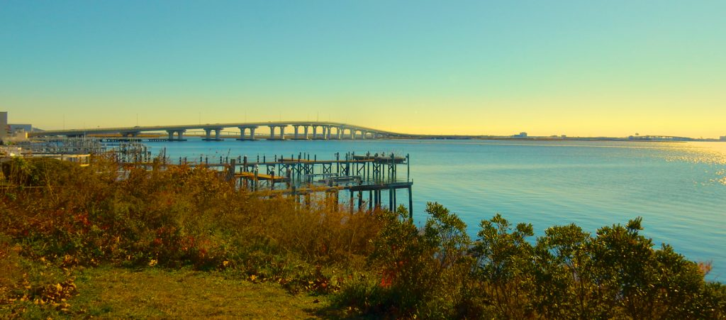 Somers Point NJ Bridge is a romantic gathering spot at sunset