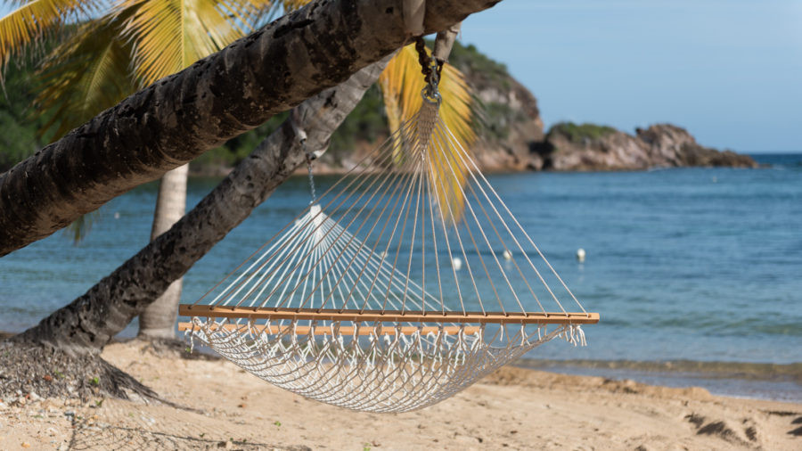 Net hammock hanging from an arching palm tree on a white sand beach in the Caribbean.