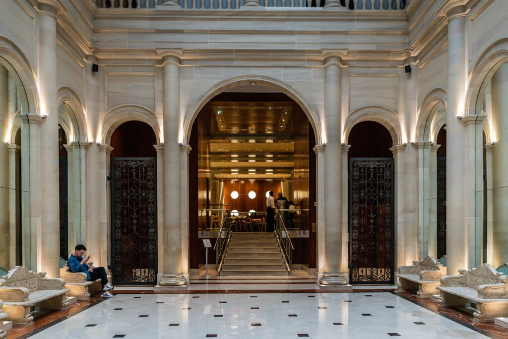 Entry to Norma's - a high-end dining room in the Parker Meridian Hotel serving breakfast and brunch.