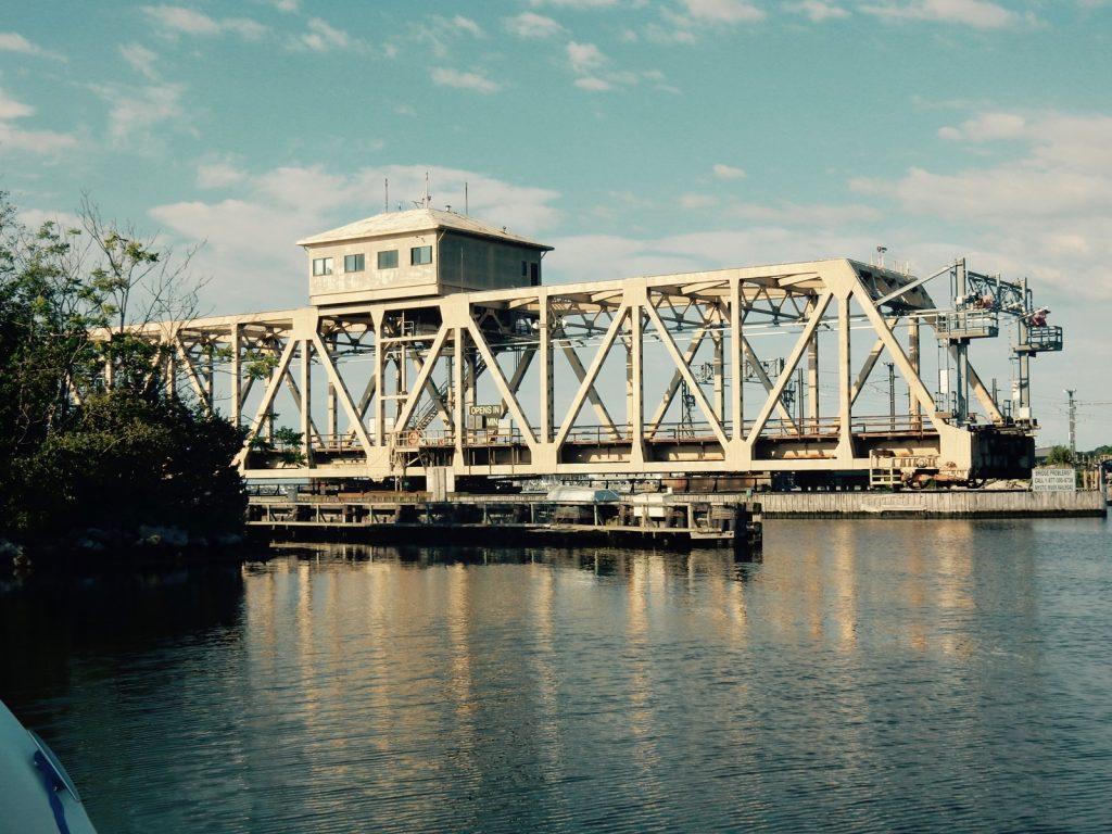Mystic CT Swing Railroad Bridge open
