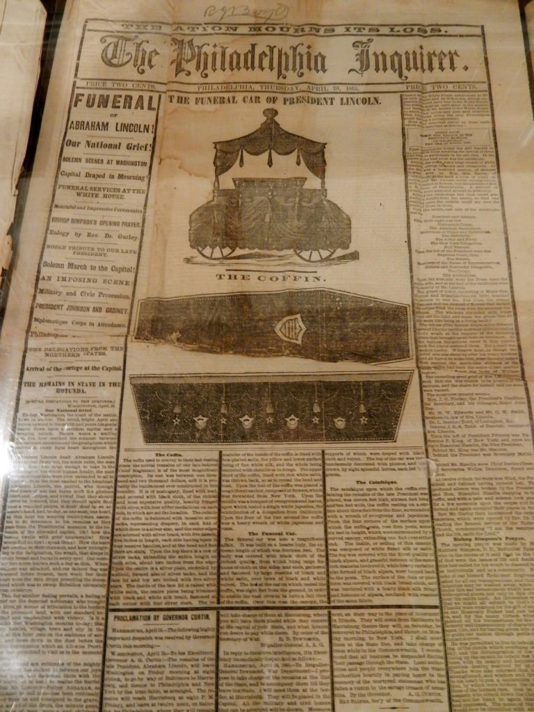 Philly Inquirer, Abe Lincoln Funeral, Allison-Antrim Museum, Greencastle PA
