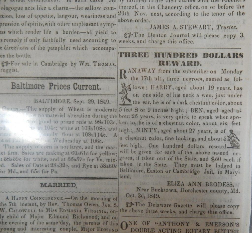 Reward for Harriet Tubman, Bucktown General Store, MD