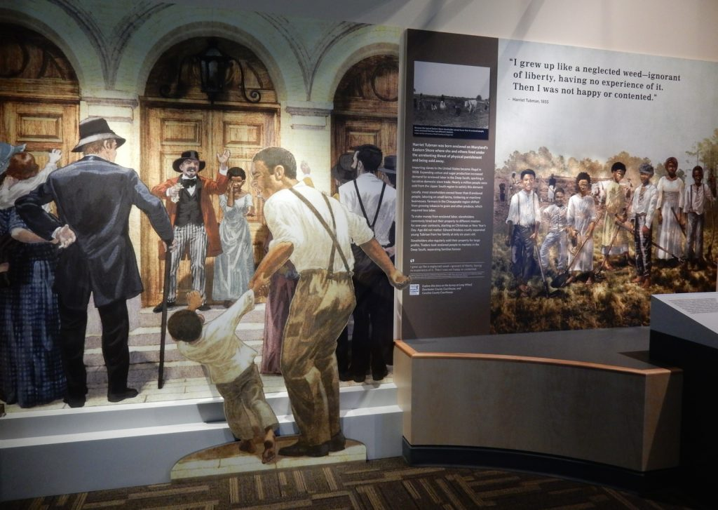 Slave auction exhibit at Harriet Tubman Visitor Center in Dorchester County MD