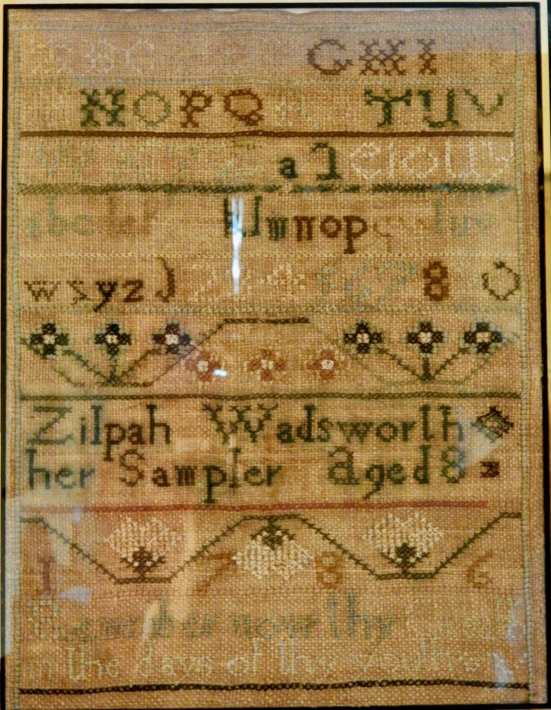 Zilpah Wadsworth hand-sewn sampler