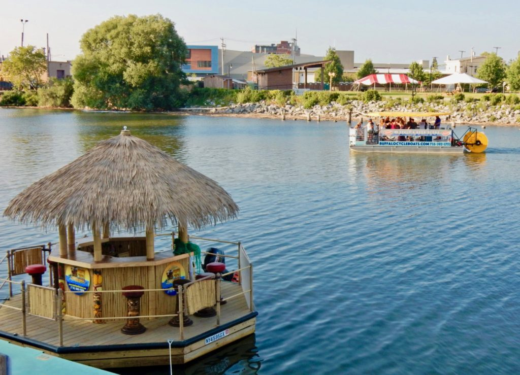 Kontiki hut and boat tour on Riverworks in Buffalo NY