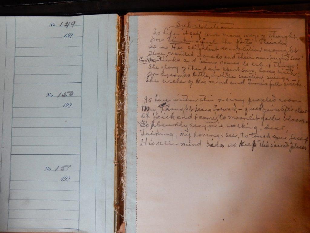 Anne Spencer Handwritten Poem, Substitution, Lynchburg VA