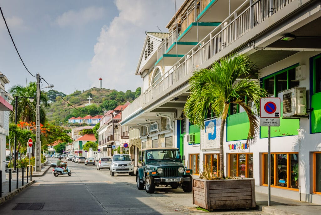 Colorful shops in Gustavia