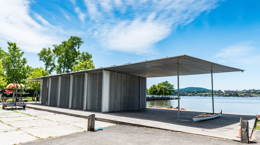AIA award-winning Kayak Pavilion at Long Dock Point Park in Beacon, New York.