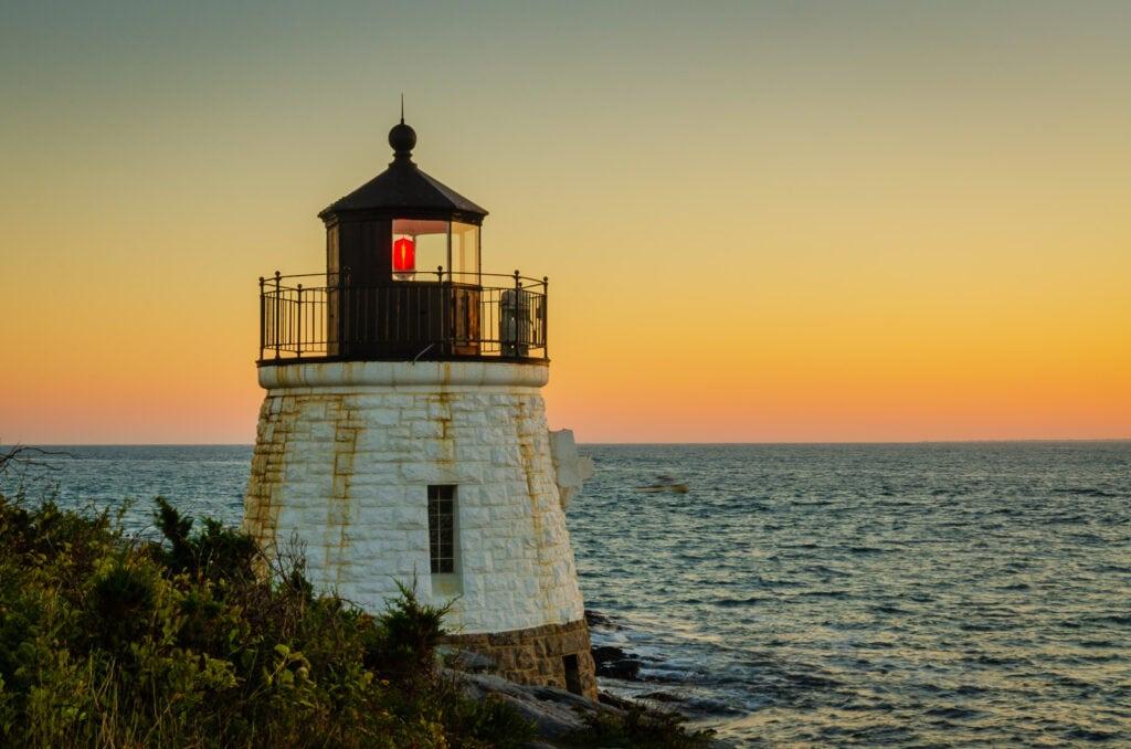 Sunset on Castle Hill Lighthouse in Newport RI.