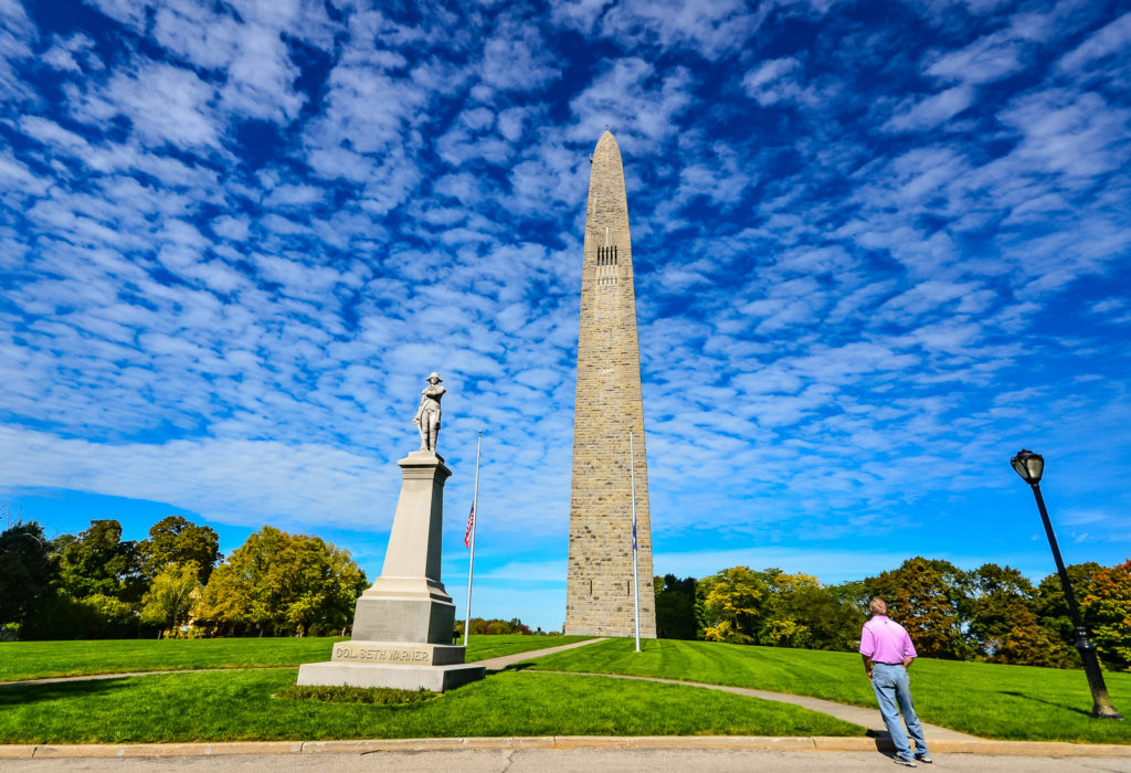 Tourist Gazes at Bennington Battle Monument - Bennington, VT