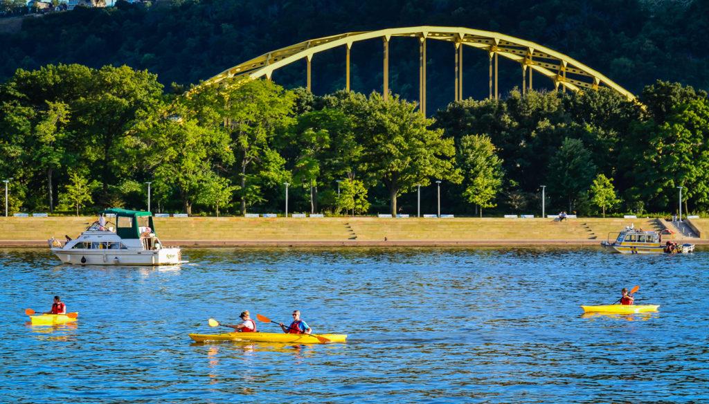 Fort Pitt Bridge and Kayaks - Pittsburgh, PA