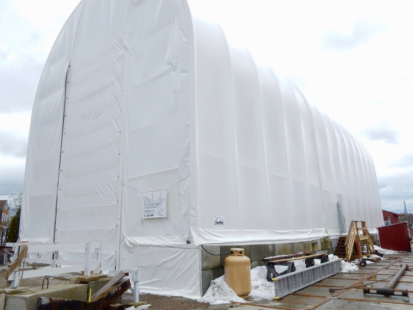 Tent built to house Mayflower II on dry dock at Mystic Seaport CT